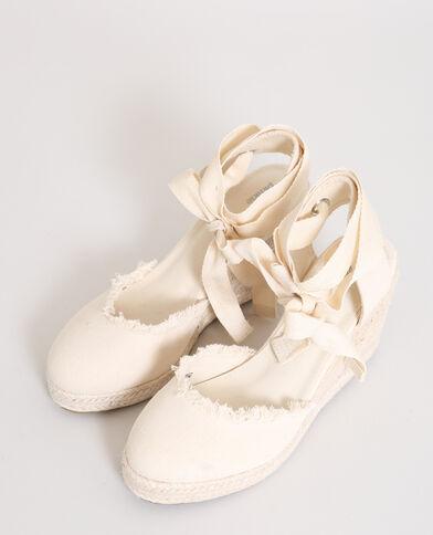 Sandalen met sleehak geweven beige