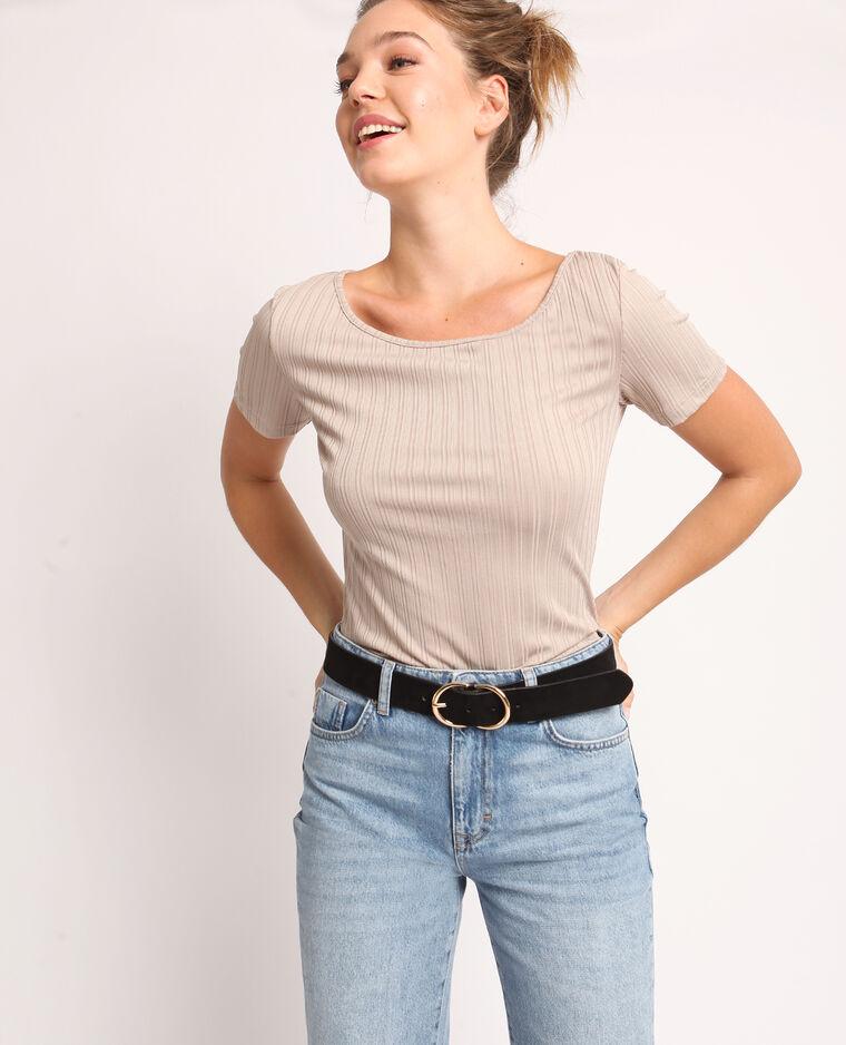 T-shirt à dos ouvert Beige