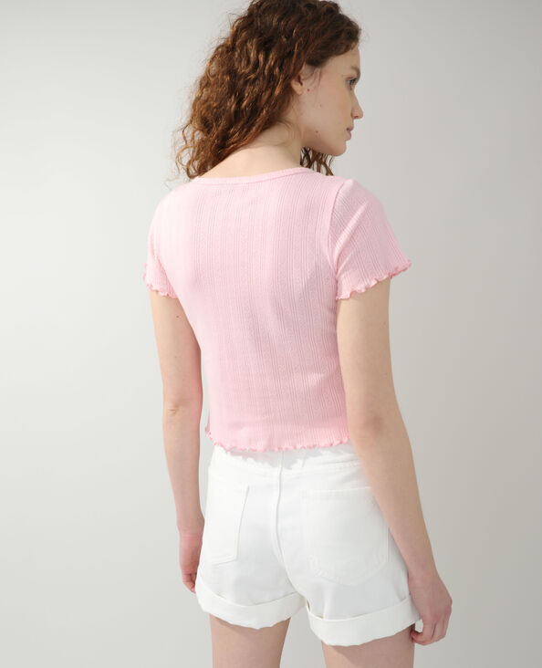 Opengewerkte cardigan roze - Pimkie