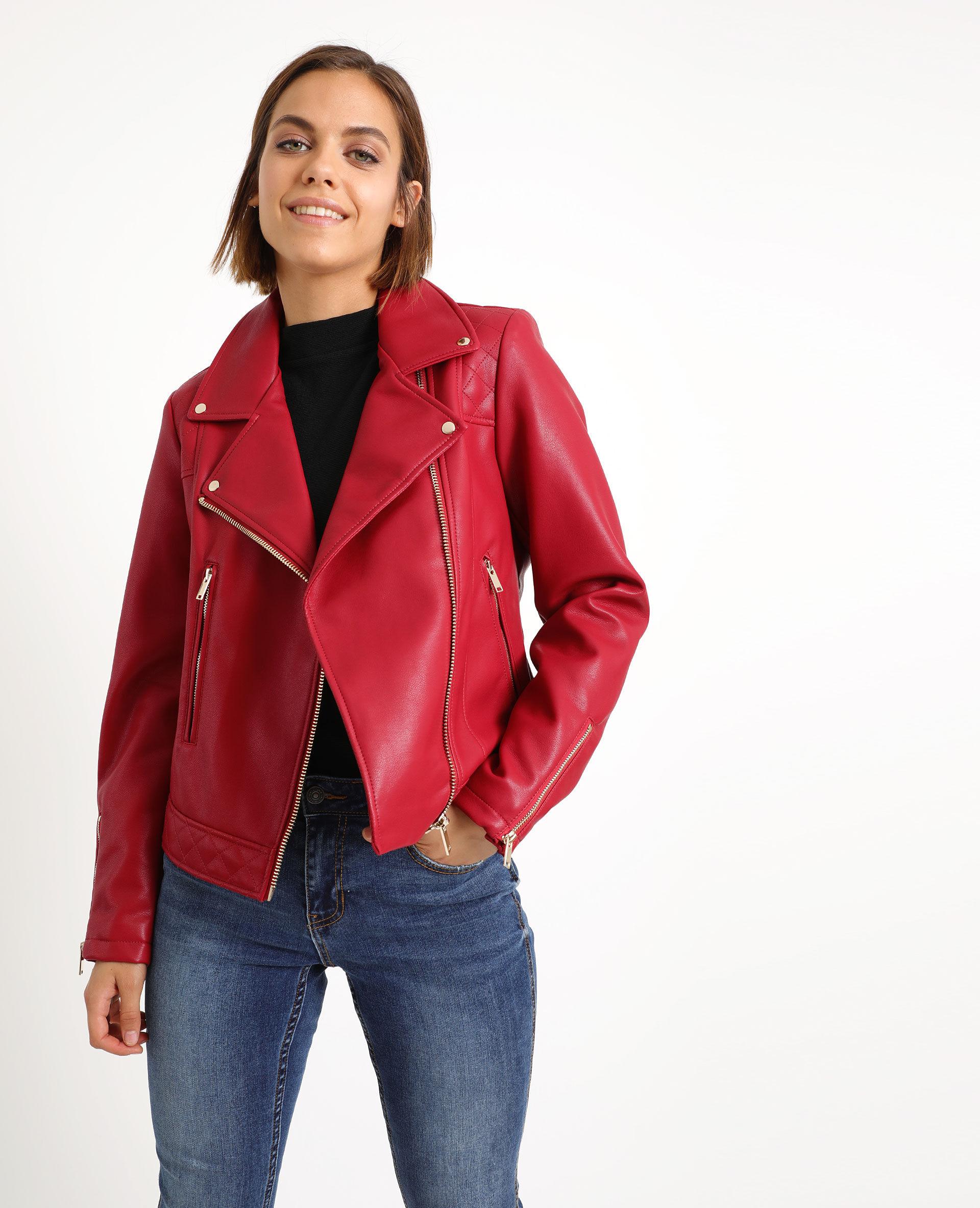 BLOUSON VESTE ROSE clair simili cuir femme T40 style