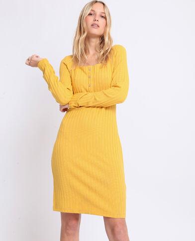 Jurk van geribbeld tricot geel