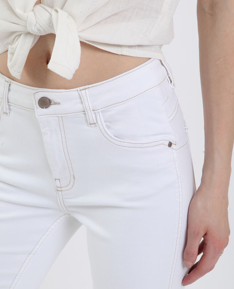 Jean push up mid waist blanc