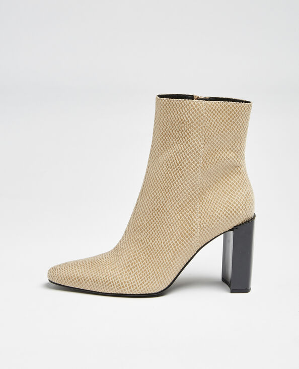 Boots à talons beige