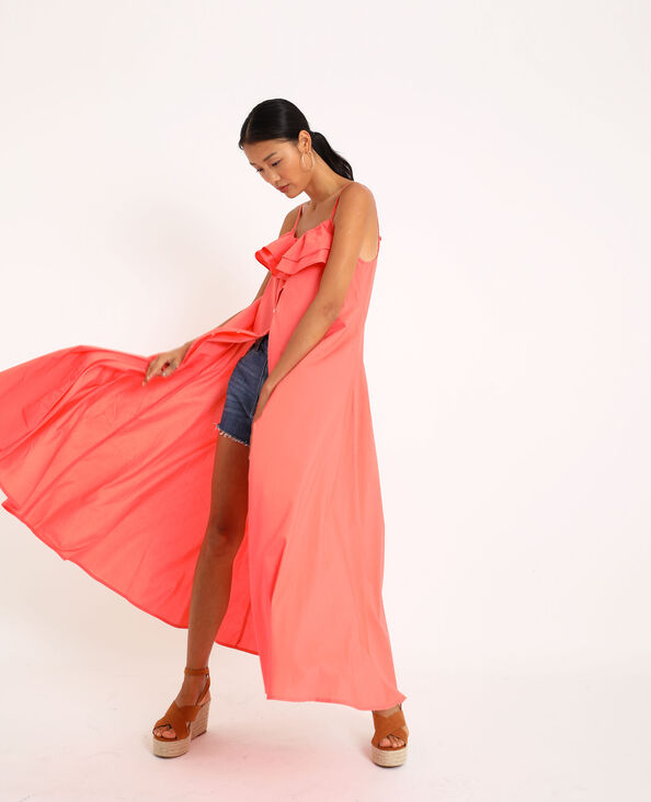 Robe longue à fines bretelles rose