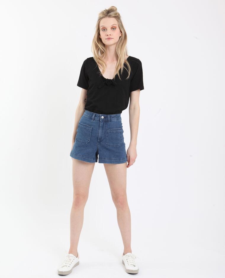 T-shirt met strik zwart