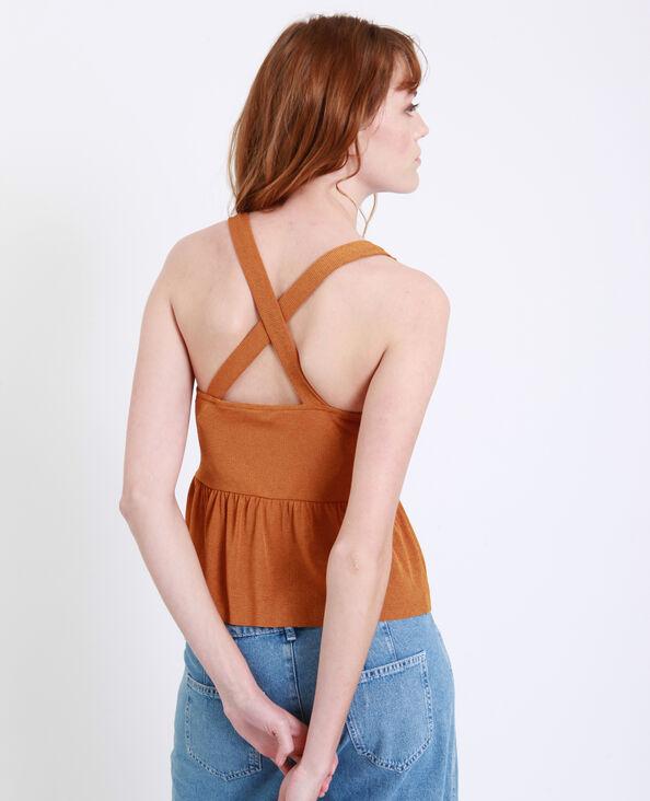 Topje met gekruiste schouderbandjes roestkleur