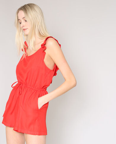 Playsuit met ruches rood