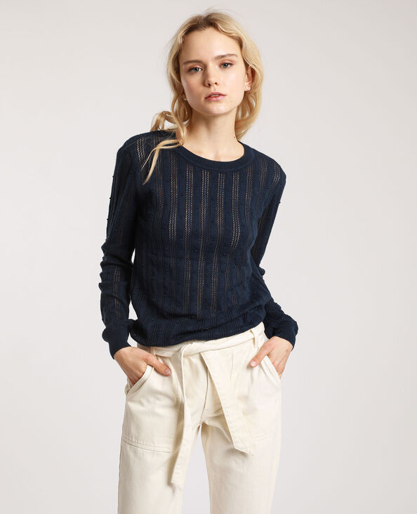 Trui van origineel tricot marineblauw
