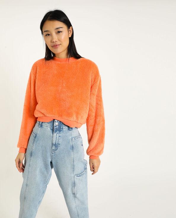 Korte sweater van pluchestof koraalrood