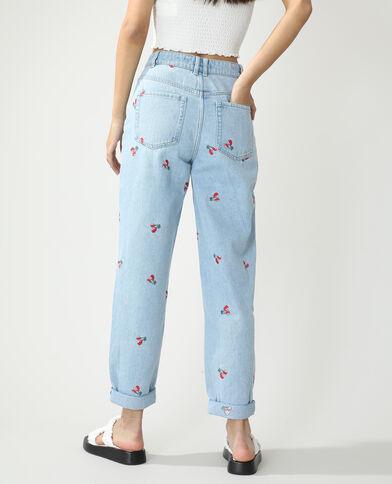 Jean mom high waist cerises bleu clair - Pimkie