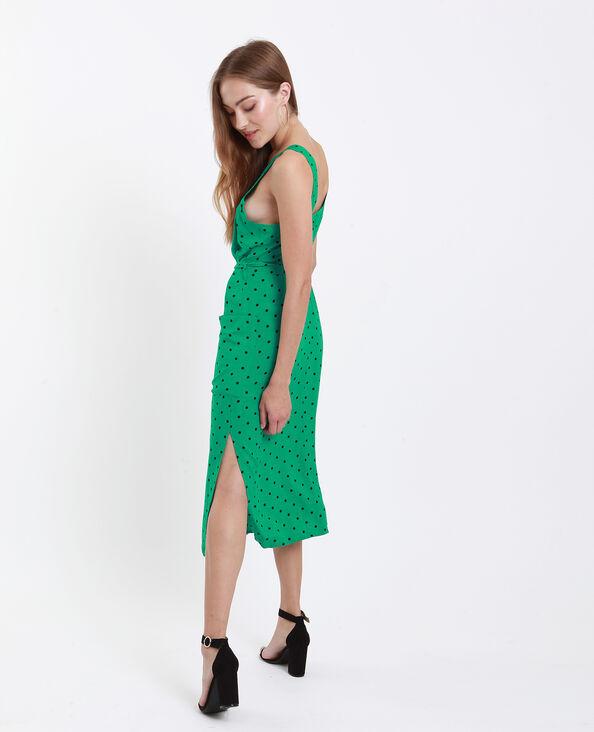 Halflange jurk met schouderbandjes groen
