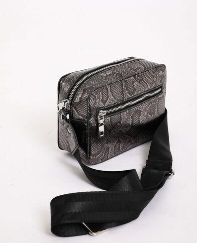 Kleine tas met slangenprint grijs