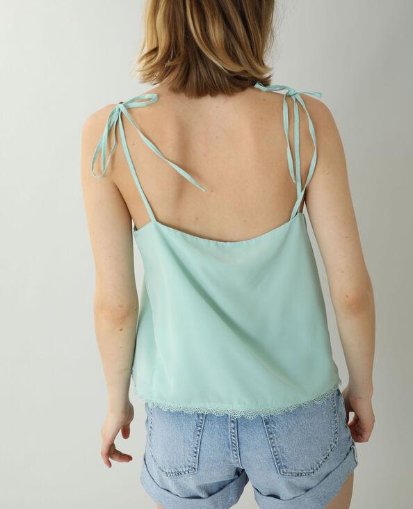 Top met dunne schouderbandjes en kant groen - Pimkie
