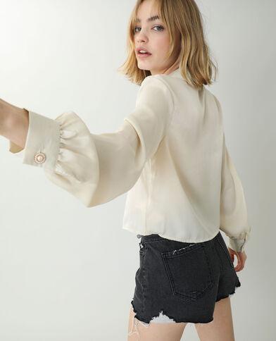 Satijnachtig hemd beige