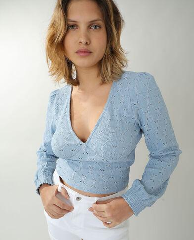 Opengewerkt T-shirt blauw - Pimkie