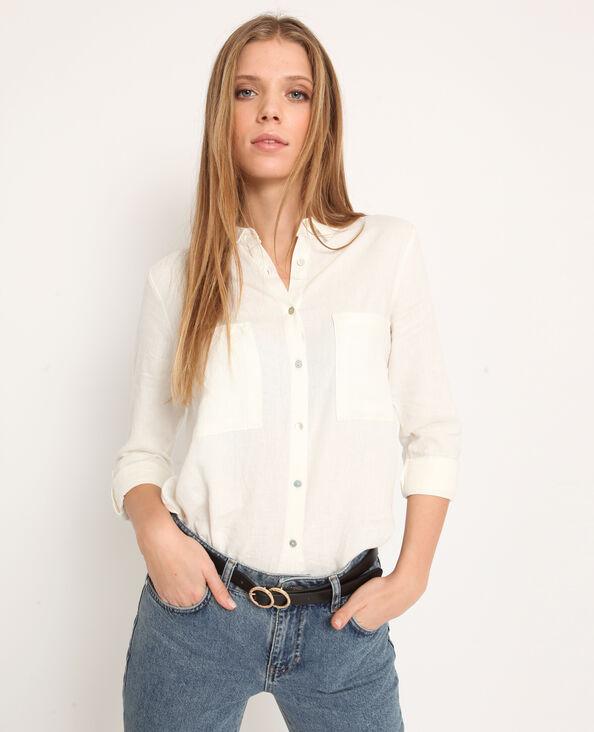 Hemd van 55% linnen gebroken wit