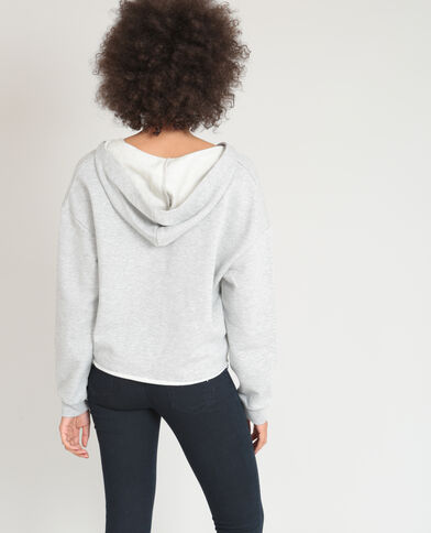 Sweat à lacets gris chiné