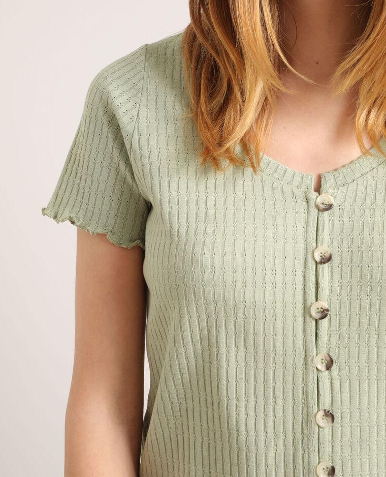 T-shirt à boutons vert d'eau
