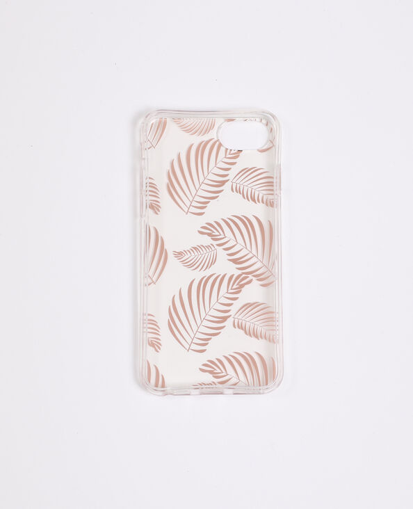 Coque motif tropical compatible iPhone cuivré