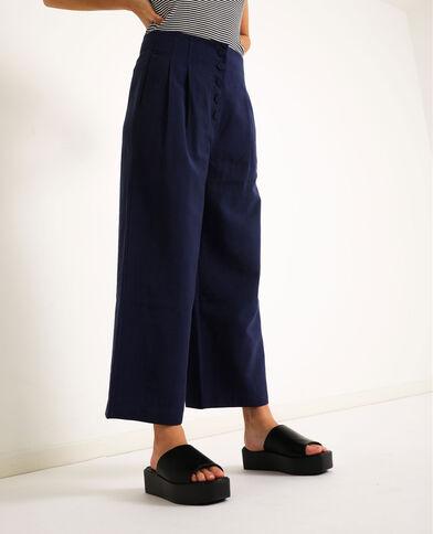 Pantalon à jambes larges bleu marine