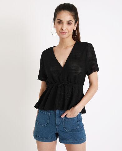 Opengewerkt shirt zwart