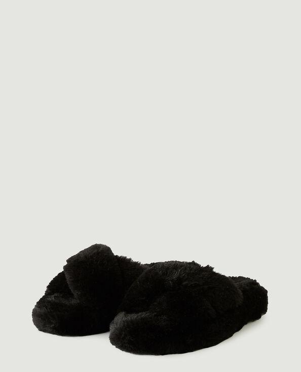 Instappers van schapenvacht zwart - Pimkie