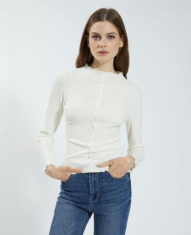 Geribbeld en golvend T-shirt wit - Pimkie