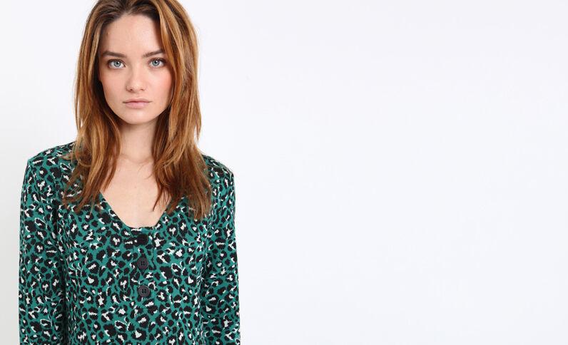 Halflange jurk met luipaardprint groen