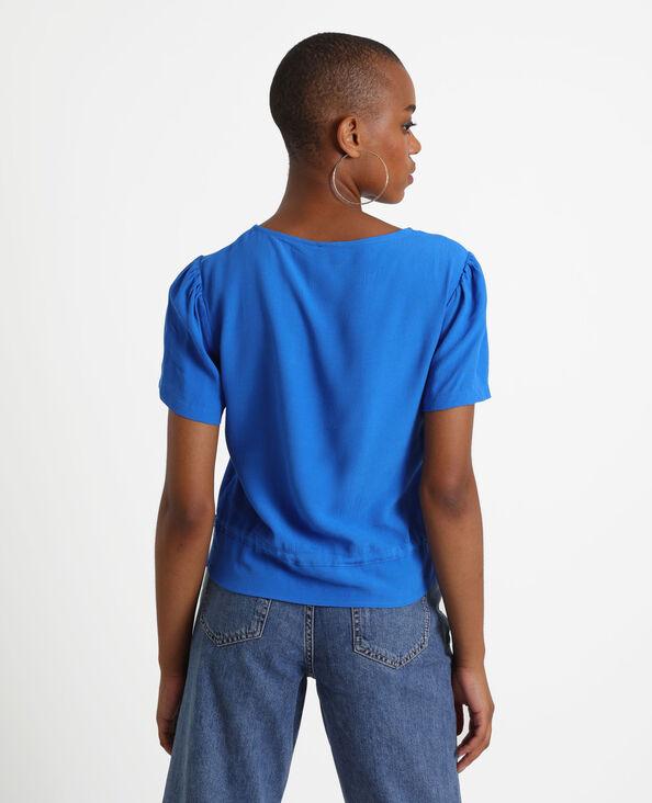 Blouse met korte mouwen blauw