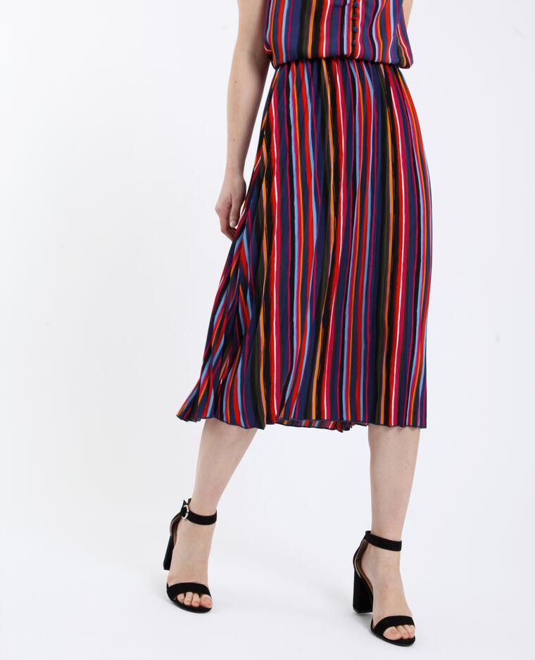 Jupe plissée multicolore noir