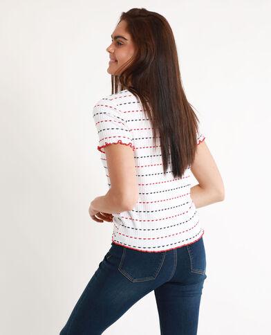 T-shirt van ribstof wit