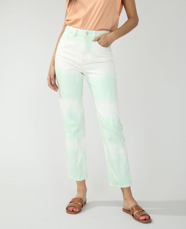 Straight-fit tie-dye jeans met hoge taille geel - Pimkie