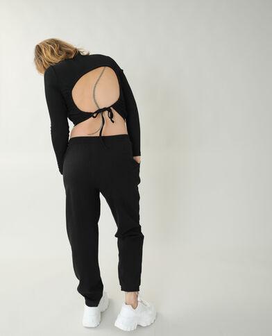 T-shirt van ribstof met blote rug zwart - Pimkie