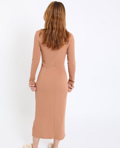 Lange jurk met rolkraag karamel