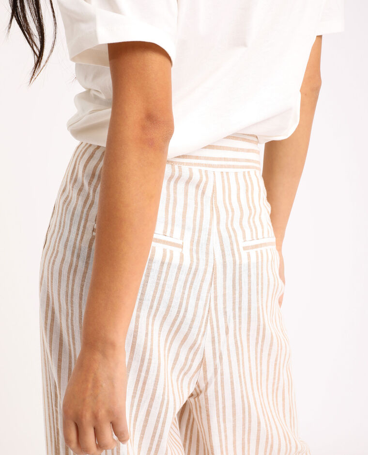 Pantalon large rayé beige sable