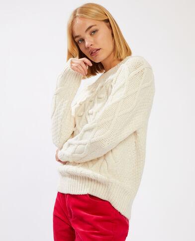 Trui van origineel tricot gebroken wit - Pimkie