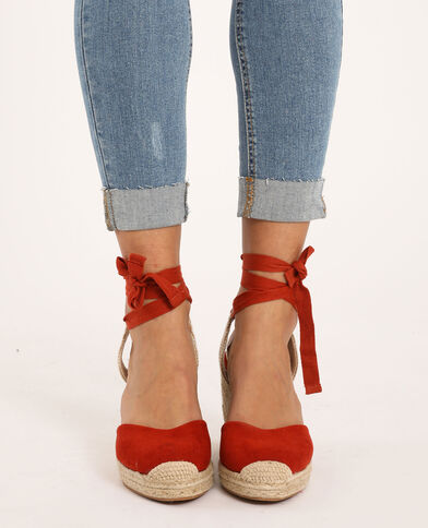 Sandalen met sleehak van stro oranje