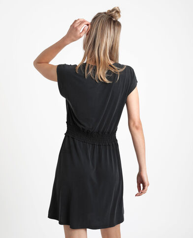Halflange jurk met smokwerk zwart