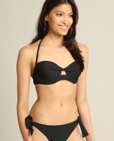 Bikinitop met laag uitgesneden cups zwart