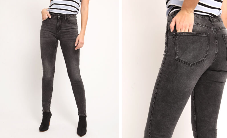 Push-up jeans met middelhoge taille antracietgrijs