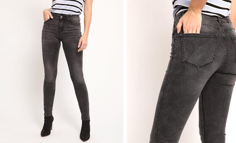 Jean push up mid waist gris