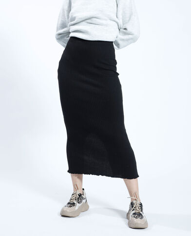 Lange rok van ribstof zwart - Pimkie