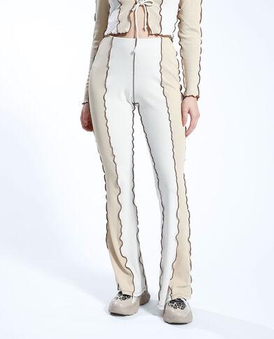 Pantalon flare côtelé bicolore écru - Pimkie