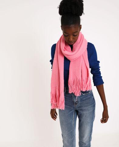 Sjaal met franjes fluor koraalrood