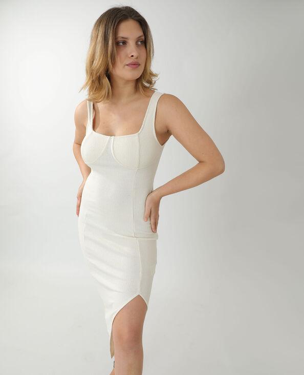Lange jurk van ribstof gemêleerd beige - Pimkie