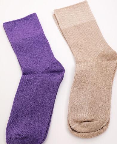 Lot de 2 paires de chaussettes violet