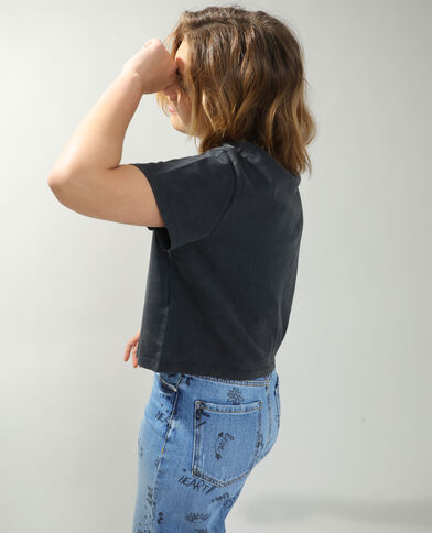 T-shirt cropped Mickey gris anthracite - Pimkie