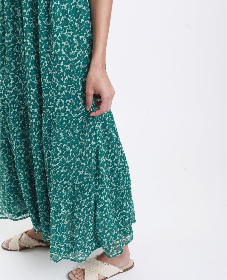 Fleurige lange jurk groen
