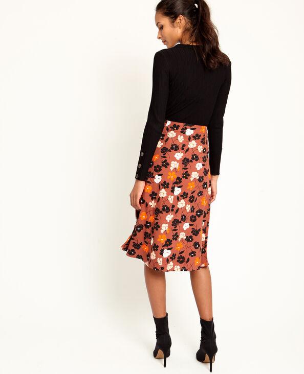 Halflange rok met bloemenprint oranjebeige