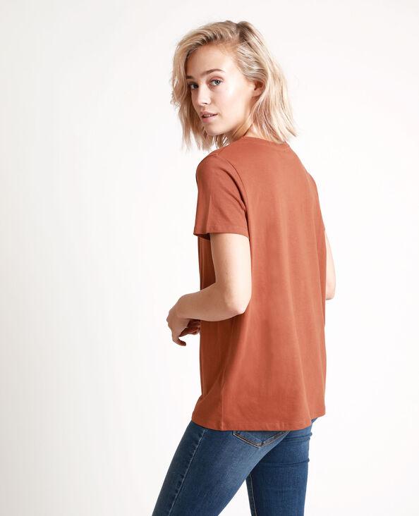 T-shirt brodé marron